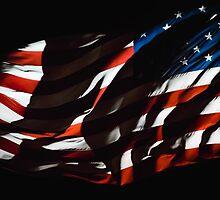 Waving USA Flag At Night by Jacob Brcic
