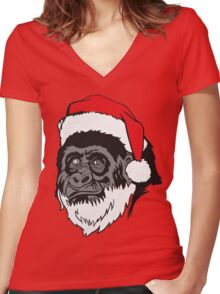 Christmas Harambe Women's Fitted V-Neck T-Shirt