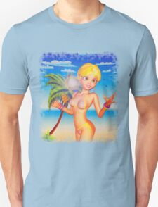 Blonde woman on beach 2 T-Shirt