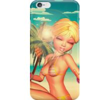 Blond Girl on Beach 3 iPhone Case/Skin