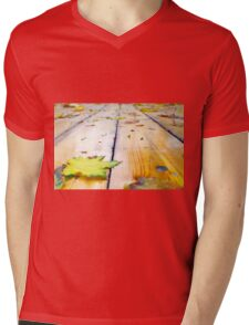 Selective focus on fallen autumn maple leaves closeup Mens V-Neck T-Shirt