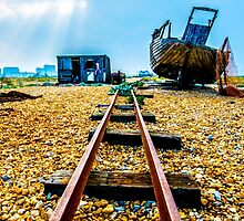 Abandoned fishing boat on Dungeness beach, Kent by Luke Farmer