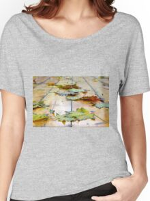 Selective focus on the autumn fallen maple leaves Women's Relaxed Fit T-Shirt