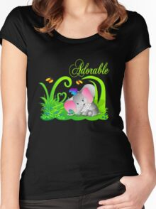 Cute Adorable Funny Elephant in Green grass with butterflies Women's Fitted Scoop T-Shirt