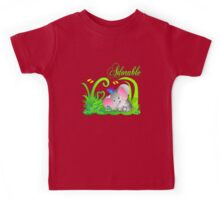 Cute Adorable Funny Elephant in Green grass with butterflies Kids Tee