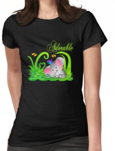Cute Adorable Funny Elephant in Green grass with butterflies Womens Fitted T-Shirt