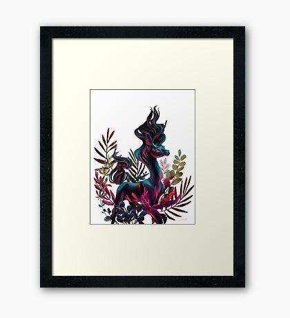 Black Unicorn with White Background Framed Print
