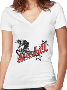 MTB downhill Women's Fitted V-Neck T-Shirt