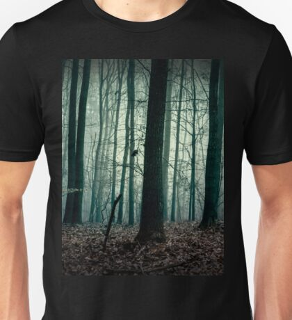 Trees silhouettes. Dark forest landscape. Gloomy and horror scenery Unisex T-Shirt