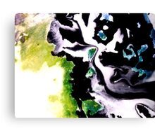 Audacity abstract painting in Green Black and White Canvas Print