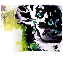 Audacity abstract painting in Green Black and White Poster