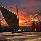 Norfolk Wherry and Windmill, Norfolk Broads, England by Dennis Melling