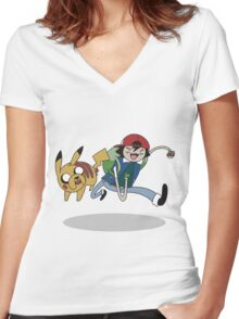 Poketime Women's Fitted V-Neck T-Shirt