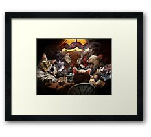 Cats play poker Framed Print