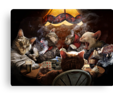Cats play poker Canvas Print