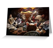 Cats play poker Greeting Card