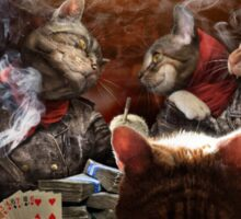 Cats play poker Sticker