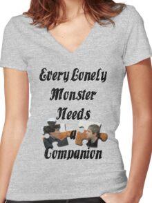 Every Lonely Monster... [Black/ Johnlock] Women's Fitted V-Neck T-Shirt