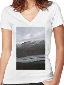 aletsch glacier Women's Fitted V-Neck T-Shirt