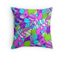 Bright psychedelic doodle Throw Pillow