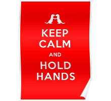 Keep Calm and Hold Hands (Otters holding hands) Poster