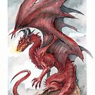 Red Dragon - watercolours by drakhenliche