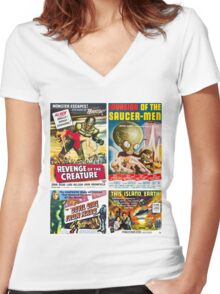 Sci-Fi Poster Collection #5 Women's Fitted V-Neck T-Shirt