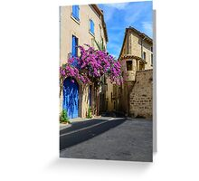 A street corner in the historical centre of Pezenas, Languedoc, France Greeting Card