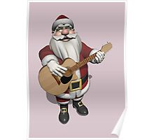 Santa Claus Plays Accoustic Guitar Poster