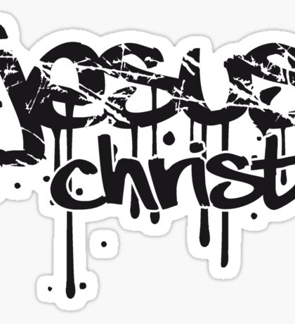 christus blut kratzer risse graffiti tropfen tattoo schriftzug christ cool logo design text jesus  Sticker