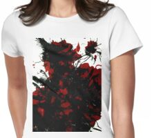 Abstract Art Painting Mess Red Black White Womens Fitted T-Shirt