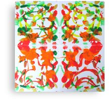 Autumns Whorl Leaf Abstract White green red orange Canvas Print