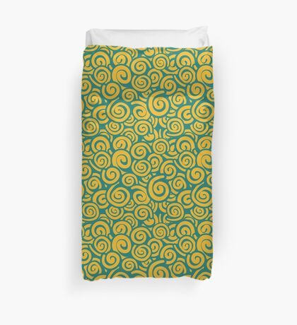 Conceptual Swirls in Green and Yellow Duvet Cover