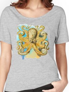 Cool Octopus - Sea Ocean or Navy Style Cartoon Drawing Women's Relaxed Fit T-Shirt