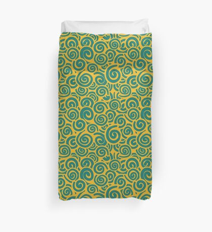 Conceptual Swirls in Yellow and green Duvet Cover