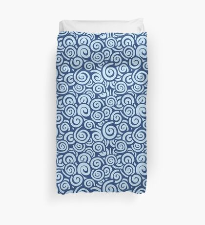 Conceptual Swirls in Navy and Light Blue Duvet Cover
