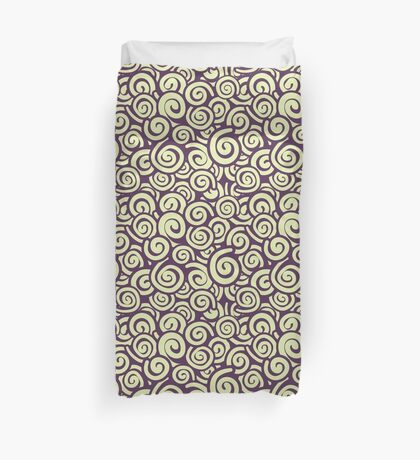 Conceptual Swirls in Light Green and Plum Duvet Cover