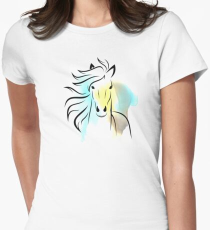 Beautiful Cute Colorful Horse - Animals Art Shirts And Gifts Collection Womens Fitted T-Shirt
