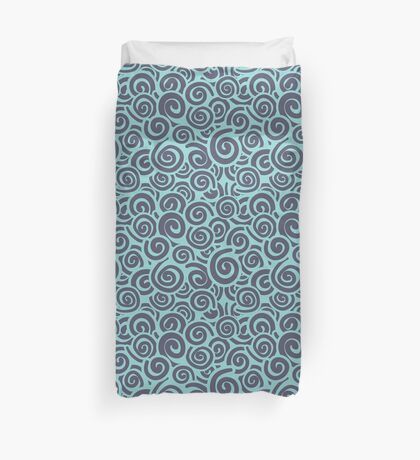 Conceptual Swirls in Teal and Navy Duvet Cover