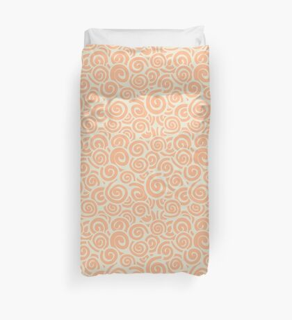 Conceptual Swirls in Light Green and Peach Duvet Cover