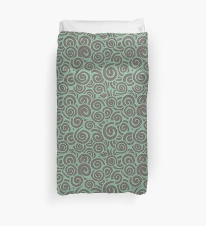 Conceptual Swirls in Mint and Mocha Duvet Cover