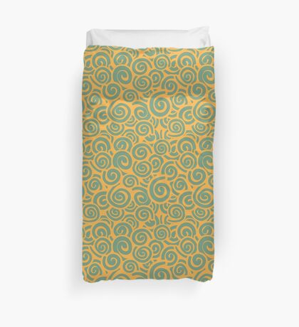 Conceptual Swirls in Citrus and Lime Duvet Cover