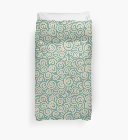 Conceptual Swirls in Cream and Baby Blue Duvet Cover