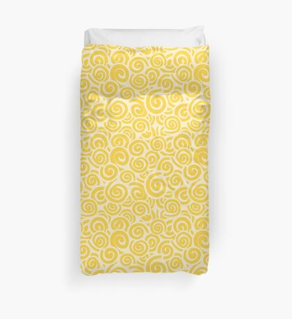 Conceptual Swirls in Cream and Yellow Duvet Cover