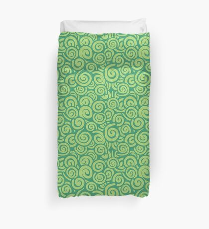 Conceptual Swirls in Mint and Lime Duvet Cover