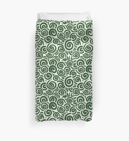 Conceptual Swirls in White and Green Duvet Cover