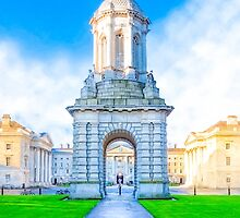 Trinity College Campanile On Parliament Square - Dublin Ireland by Mark Tisdale