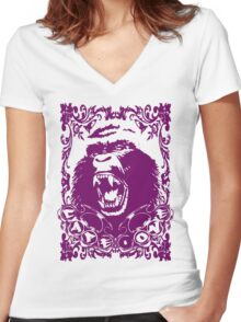 Guerrilla Squad -purple- Women's Fitted V-Neck T-Shirt