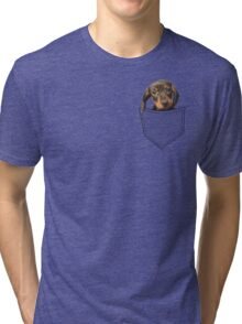 Pocket Dog Dachshund Tri-blend T-Shirt