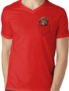 Pocket Dog Dachshund Mens V-Neck T-Shirt